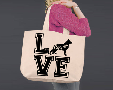 German Shepherd Dog Love | Personalized Canvas Tote Bag