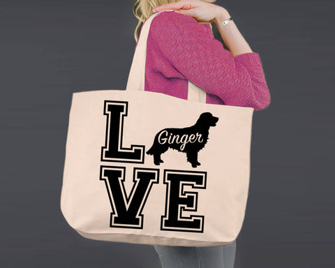 Golden Retriever Dog Love | Personalized Canvas Tote Bag