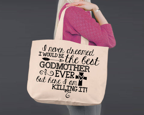 Best Godmother Ever | Personalized Canvas Tote Bag