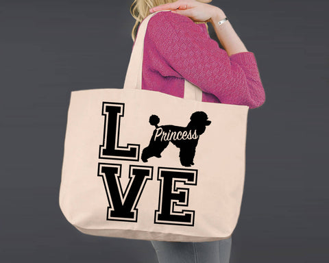 Poodle Dog Love | Personalized Canvas Tote Bag