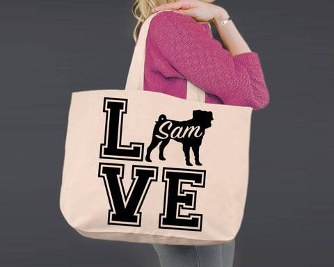 Pug Dog Love | Personalized Canvas Tote Bag