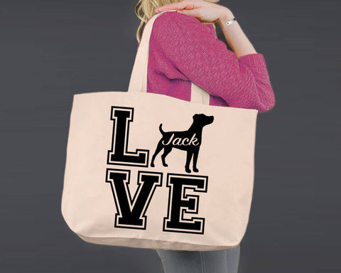 Jack Russell Terrier Dog Love | Personalized Canvas Tote Bag