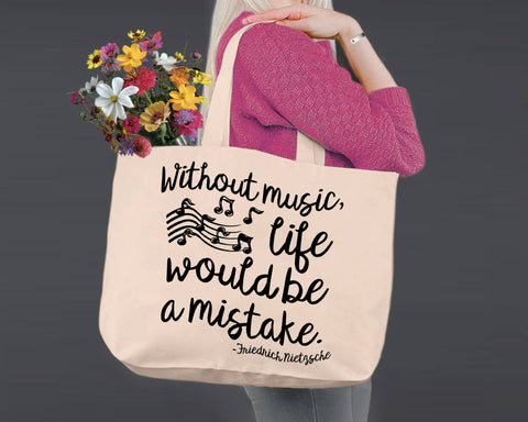 Without Music Life Would Be a Mistake | Personalized Canvas Tote Bag