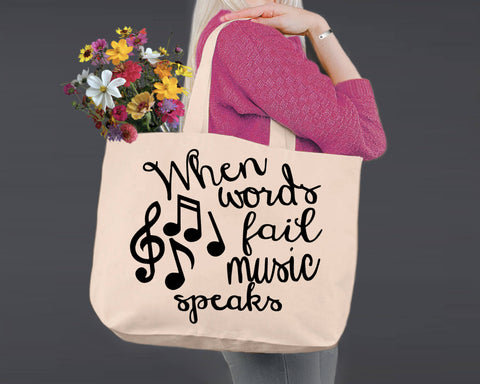 When Words Fail Music Speaks | Personalized Canvas Tote Bag