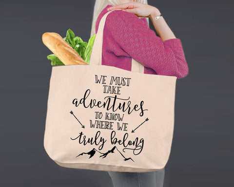 We Must Take Adventures | Personalized Canvas Tote Bag