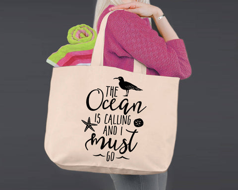 The Ocean Is Calling | Personalized Canvas Tote Bag