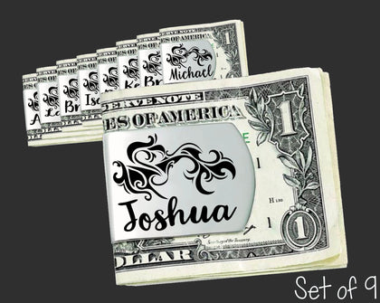 Set of 9 Personalized Tribal Money Clips | Groomsmen Gifts