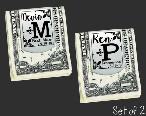 Set of 2 Personalized Money Clips | Groomsmen Gifts