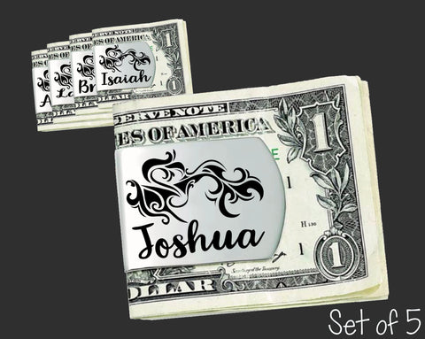 Set of 5 Personalized Tribal Money Clips | Groomsmen Gifts
