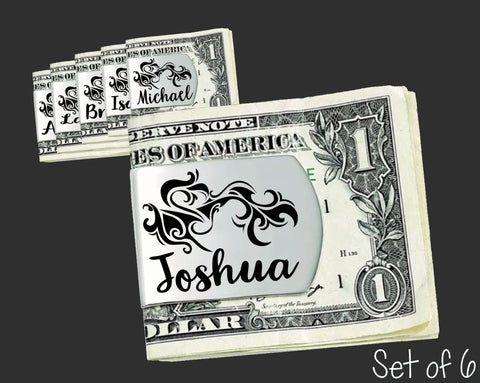 Set of 6 Personalized Tribal Money Clips | Groomsmen Gifts