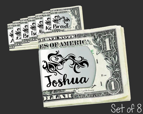 Set of 8 Personalized Tribal Money Clips | Groomsmen Gifts