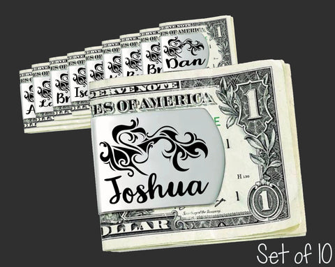 Set of 10 Personalized Tribal Money Clips | Groomsmen Gifts