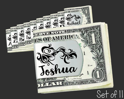 Set of 11 Personalized Tribal Money Clips | Groomsmen Gifts