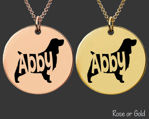 English Springer Spaniel Necklace | Rose Gold or Gold Personalized Dog Necklace