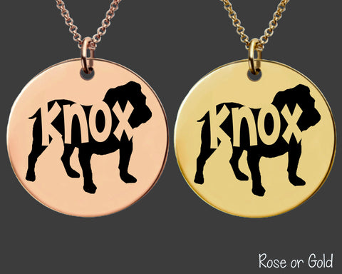 Bulldog Dog Necklace | Rose Gold or Gold Personalized Dog Necklace