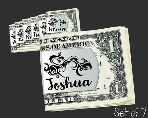 Set of 7 Personalized Tribal Money Clips | Groomsmen Gifts