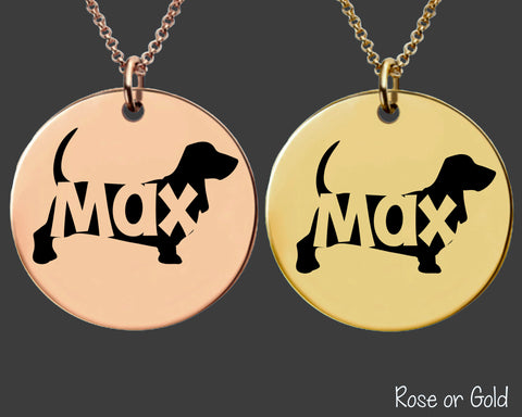 Basset Hound Necklace | Rose Gold or Gold Personalized Dog Necklace