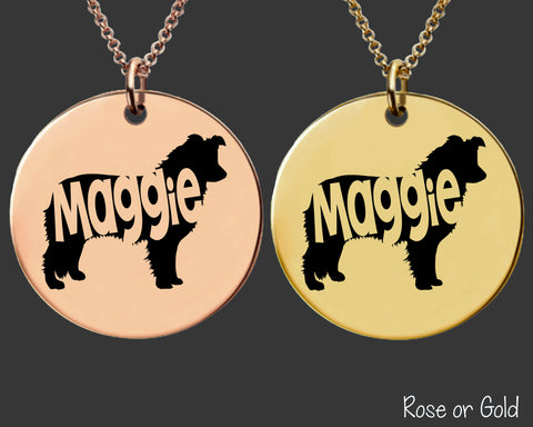 Border Collie Dog Necklace | Rose Gold or Gold Personalized Dog Necklace