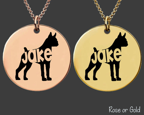 Boxer Dog Necklace | Rose Gold or Gold Personalized Dog Necklace