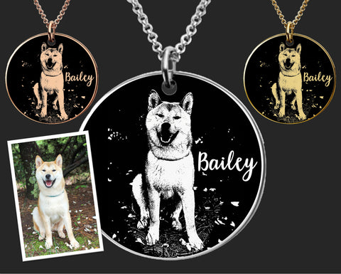 Personalized Dog Portrait Necklace | Akita Dog Necklace | Akita Dog Jewelry | Dog Pendant | Birthday Gifts For Her