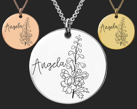 July Birth Flower Necklace | Larkspur Birth Flower | Personalized Flower Necklace | Birthday Gifts For Her | Birthday Gifts for Mom