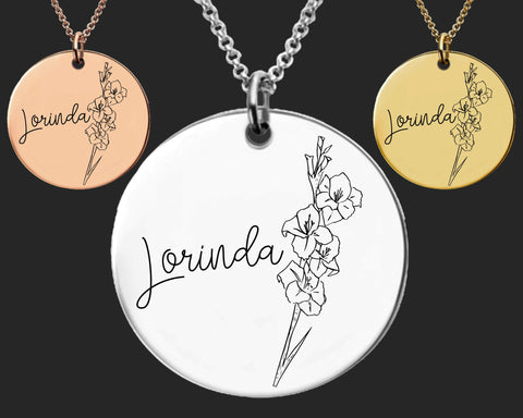 August Birth Flower Necklace | Gladiolus Birth Flower | Personalized Flower Necklace | Birthday Gifts For Her | Birthday Gifts for Mom
