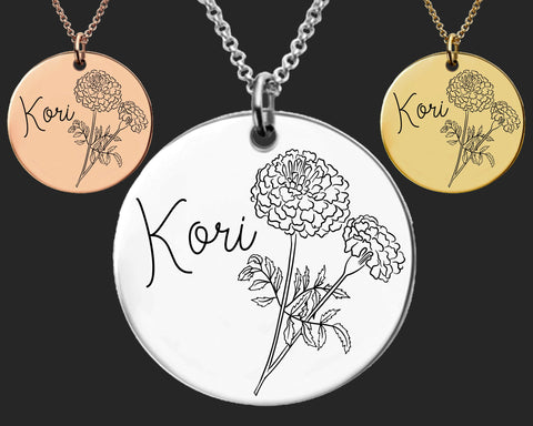October Birth Flower Necklace | Marigold Birth Flower | Personalized Flower Necklace | Birthday Gifts For Her | Birthday Gifts for Mom