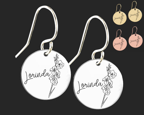 August Birth Flower Earrings | Gladiolus Birth Flower | Personalized Flower Earrings | Birthday Gifts For Her