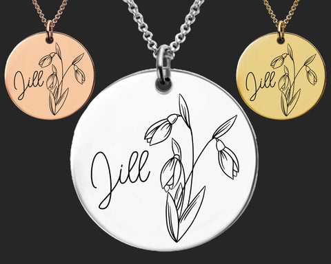 January Birth Flower Necklace | Snowdrop Birth Flower | Personalized Flower Necklace | Birthday Gifts For Her | Birthday Gifts for Mom