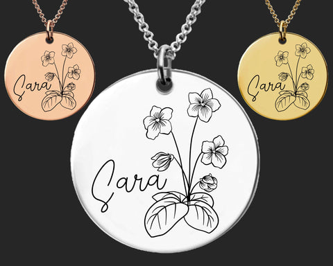 February Birth Flower Necklace | Violet Birth Flower | Personalized Flower Necklace | Birthday Gifts For Her | Birthday Gifts for Mom