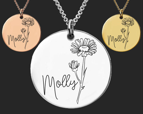 April Birth Flower Necklace | Daisy Birth Flower | Personalized Flower Necklace | Birthday Gifts For Her | Birthday Gifts for Mom