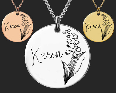 May Birth Flower Necklace | Lily of the Valley Birth Flower | Personalized Flower Necklace | Birthday Gifts For Her | Birthday Gifts for Mom