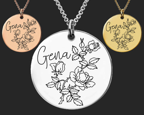 June Birth Flower Necklace | Rose Birth Flower | Personalized Flower Necklace | Birthday Gifts For Her | Birthday Gifts for Mom