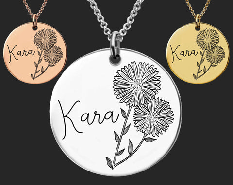 September Birth Flower Necklace | Aster Birth Flower | Personalized Flower Necklace | Birthday Gifts For Her | Birthday Gifts for Mom