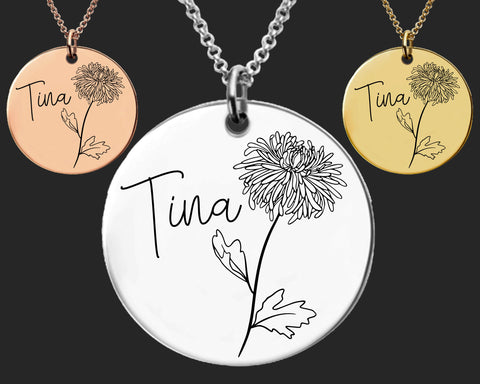 November Birth Flower Necklace | Chrysanthemum Birth Flower | Personalized Flower Necklace | Birthday Gifts For Her | Birthday Gifts for Mom