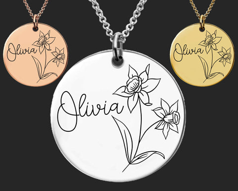 December Birth Flower Necklace | Narcissus Birth Flower | Personalized Flower Necklace | Birthday Gifts For Her | Birthday Gifts for Mom