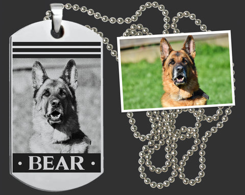 Personalized Dog Portrait Dog Tag Necklace