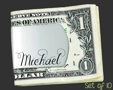 Set of 10 Custom Money Clips | Groomsman Gifts