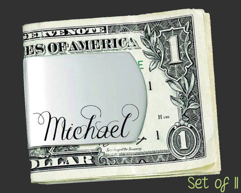 Set of 11 Custom Money Clips | Groomsman Gifts