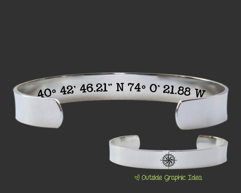 GPS Coordinates Location Personalized Bracelet