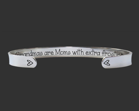 Grandmas Are Moms With Extra Frosting Bracelet | Grandma Gift