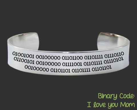 Binary Code Bracelet I Love You Mom | Gift for Mom