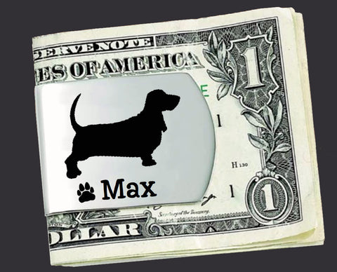 Basset Hound Personalized Money Clip