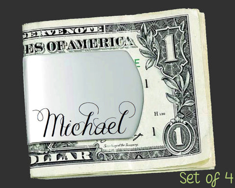 Set of 4 Custom Money Clips | Groomsman Gifts