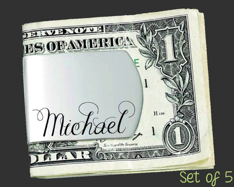 Set of 5 Custom Money Clips | Groomsman Gifts