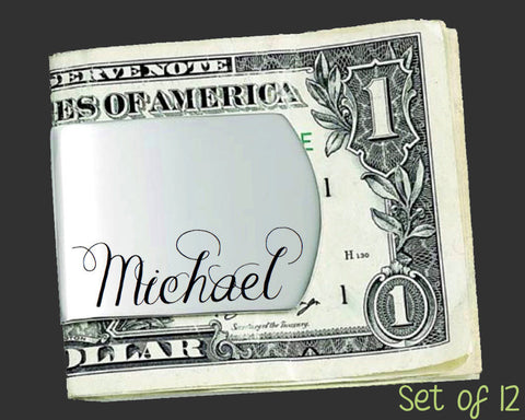 Set of 12 Custom Money Clips | Groomsman Gifts