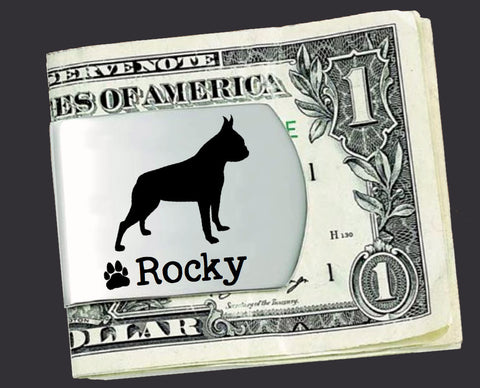 Boston Terrier Personalized Money Clip