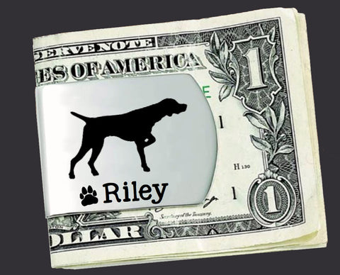 German Shorthaired Pointer Personalized Money Clip