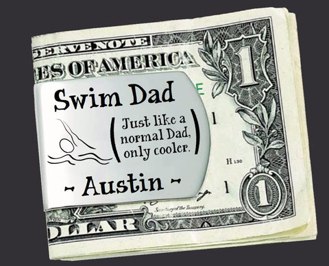 Swim Dad Personalized Money Clip