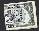 Tennis Coach Personalized Money Clip | Coach Gift
